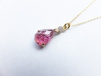 ピンクトルマリン 切子細工 ネックレスの画像