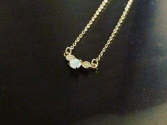 【K18】ダイヤとお好きな石のおまもりネックレスの画像