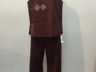 着物リメイク (ベストとパンツ)セットアップの画像