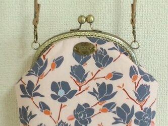 マグノリア(ピンク)柄のがま口ポシェットの画像