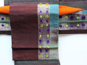 個性的なタイシルクのリバーシブル二部式帯 ☆帯板プレゼント企画☆の画像