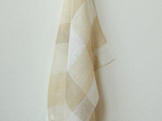 手織り・草木染め リネンプチスカーフ 黄色チェックの画像