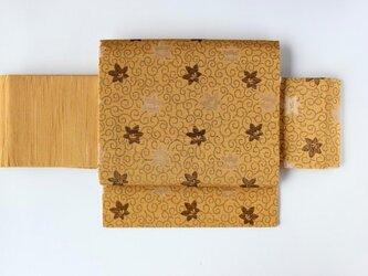 山吹色に黄金色の唐草 セピアとクリームの桔梗 二部式帯 ☆帯板プレゼント企画☆の画像