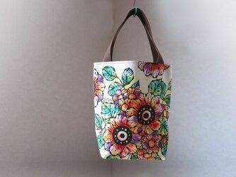 帆布 手描きのトートバッグ(花柄)Dカン付き 02の画像