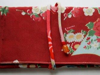 送料無料 花柄の着物で作った和風財布・ポーチ 4123の画像