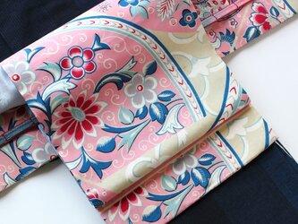 大正ロマン レトロモダンな花模様と格子の銘仙 リバーシブル二部式帯の画像