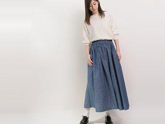 年間OK! 岡山デニム セルビッチ ダンガリー 水色 ロングスカート ライトブルー ●LICO●の画像