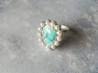 ① Freshwater Pearl & Turquoise Ring 【一点物】の画像