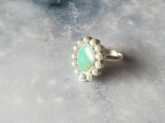 ②Freshwater Pearl & Turquoise Ring 【一点物】の画像