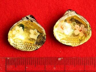 ミニサイズの貝合わせ(桃とニリンソウ)です。2cmの画像