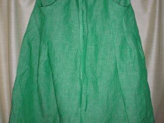春リネンスカート*ポケットあり*ブリリアントグリーンの画像