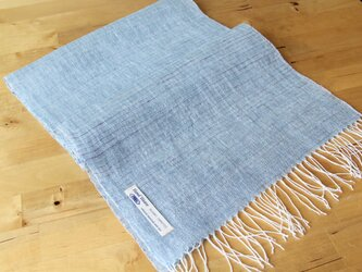 手織りリネンストール 水色の画像