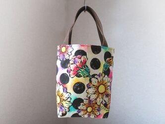 帆布 手描きのトートバッグ(花柄×水玉)Dカン付き 03の画像