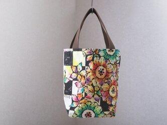 帆布 手描きのトートバッグ(花柄×市松)Dカン付き 04の画像