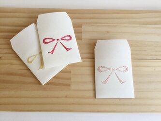 刺繍ポチ リボン 3枚入の画像