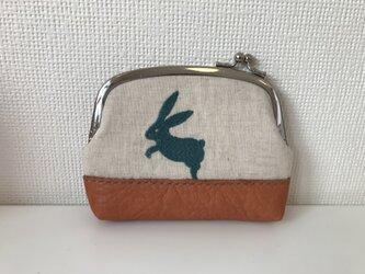 ウサギさん刺繍のがまぐちポーチの画像