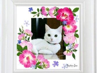 写真&名入れ無料!押し花フレーム(15×15サイズ)の画像