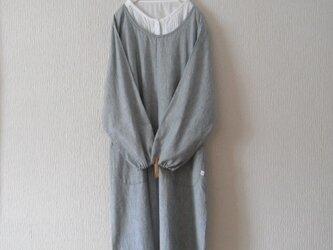 木綿のかっぽう着 紺ストライプの画像