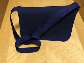大きめ:シンプルな紺色ショルダーバッグ/*お受験・入園入学・通園通学*/の画像