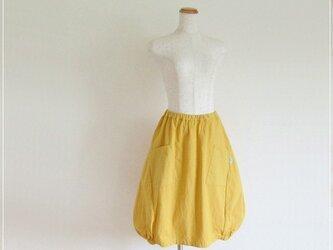 yellow* コットンリネン バルーンスカート+リバティの画像