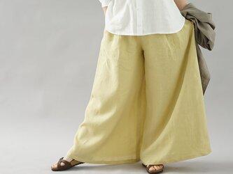 【wafu】薄地 雅亜麻 リネン パンツ 究極の ワイドパンツ キュロット / 金糸雀(かなりあ)色 b002g-kai1の画像