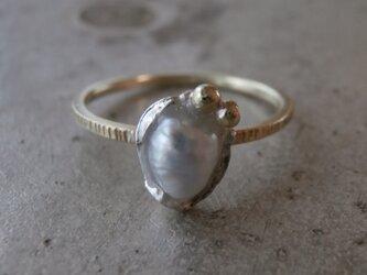 淡水パールとK14のリングの画像