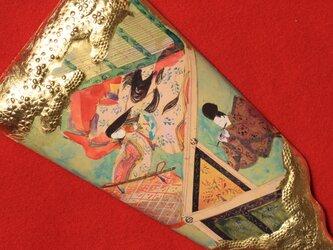 ハンドメイドの羽子板で、源氏物語絵巻「紅葉賀 もみじのが」を手描きしていますの画像