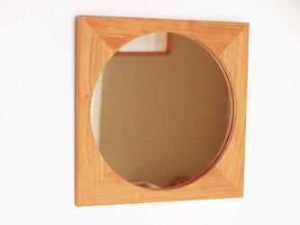 木製 鏡「四角に丸」桜材8 ミラーの画像