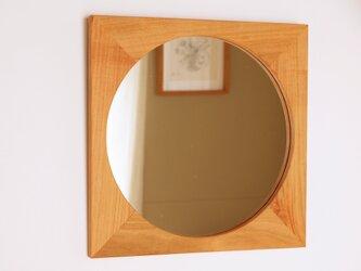 木製 鏡「四角に丸」桜材9 ミラーの画像