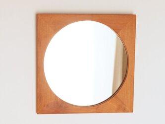 木製 鏡「四角に丸」桜材13 ミラーの画像