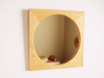 木製 鏡「四角に丸」ヒノキ材4 ミラーの画像