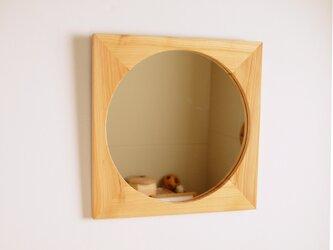 木製 鏡「四角に丸」ヒノキ材6 ミラーの画像