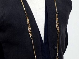 ダルメシアンジャスパーのgoldロングネックレスの画像
