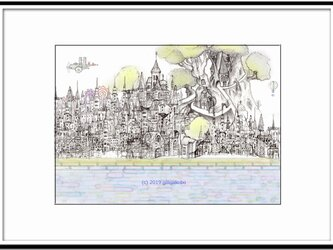 「空想街図Ⅲ」 ほっこり癒しのイラストA4サイズポスターNo.630の画像