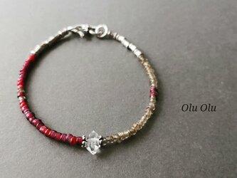 アンティークホワイトハーツ&ハーキマーダイヤモンドのブレスレットの画像