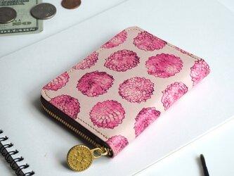 ラウンドファスナー コンパクト財布(ダリア ドット)革 オールレザー レディース 小さい ILL-1145の画像