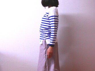 リネン Aラインラインのフレアースカート くすみピンクの画像