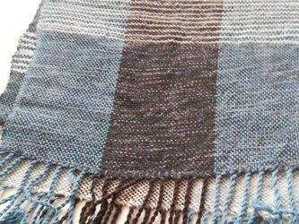 手織のマフラー :竹の毛糸、アルパカの画像