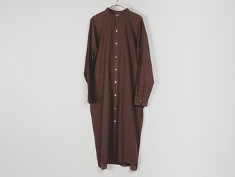 カディコットン ユニセックスロングシャツ Dark brownの画像