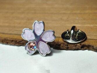 【桜ピンバッジ パステルピンク】スワロフスキー付 / 服やバッグにの画像
