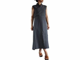 ジョムトン手織り綿チュバ風ドレス 墨黒(DFS-039-01)の画像