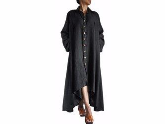 柔らかヘンプのロングドレスコート 黒(JNN-067-01)の画像