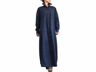 ジョムトン手織り綿ロングシャツコート インディゴ紺(JFS-146-03)の画像