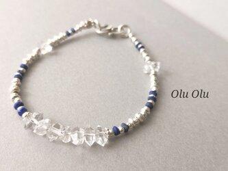 ハーキマーダイヤモンド&ラピスラズリのブレスレットの画像