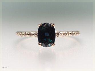 ダークサファイアとブラウンダイヤのリング(Iceberg Ring  Dark Sapphire)の画像