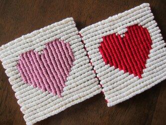 漂白剤が使えるマクラメ編み ハートのコースターの画像
