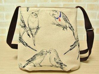 セキセイインコ&オカメインコのショルダーバッグ♪ 軽量*小鳥*コットンリネンの画像