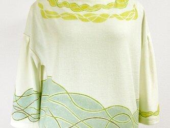 七分袖ドロップショルダー・トップス(うねり模様・きなり色)の画像