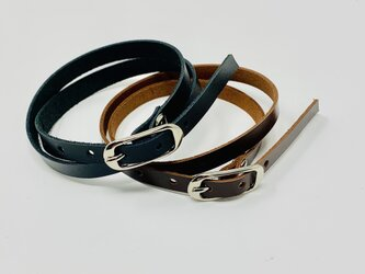 overlap leather bracelet   BLACK、brown unisex 8mmの画像