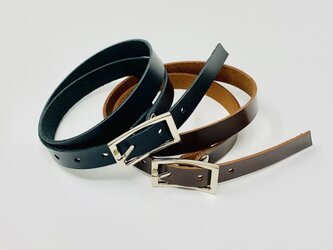 overlap leather bracelet   BLACK、brown unisex 11mmの画像